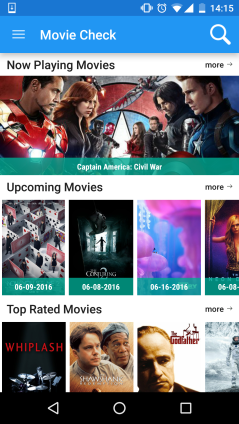 Simples app for Android that Ive developed. Its called MovieCheck. See more on: https://github.com/tassioauad/Movie-Check